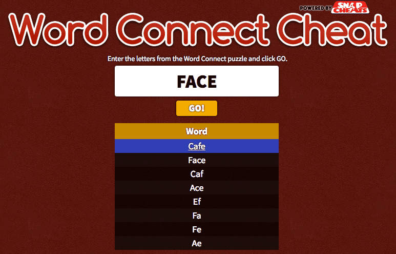 <small><small>Cheat for </small></small>Word Connect